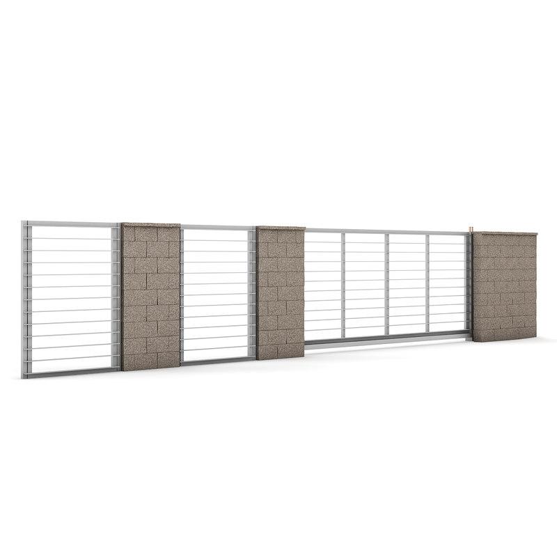 3ds max concrete fence gate