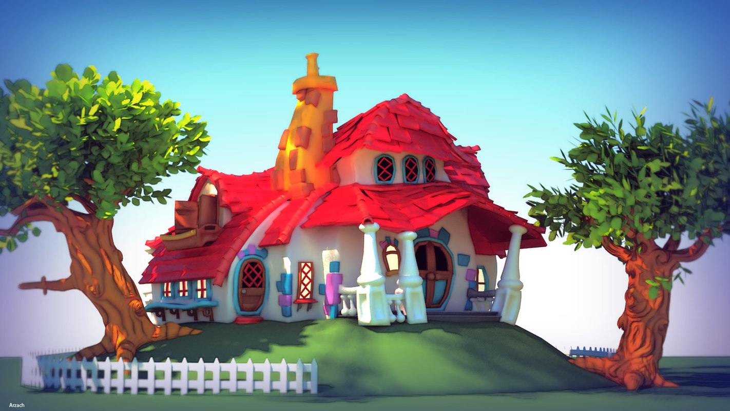 cartoon house 3d model