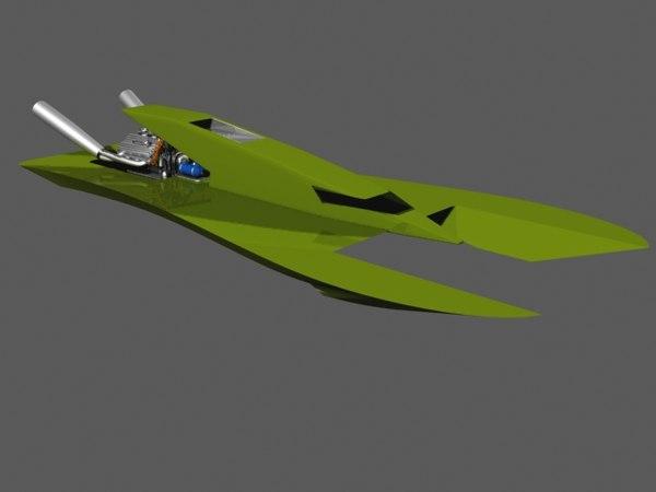 hydroplane racing boat 3d max