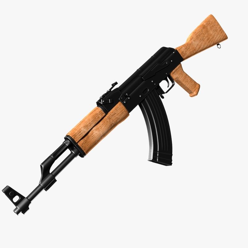 View of AK with bayonet 3D model - Hum3D store