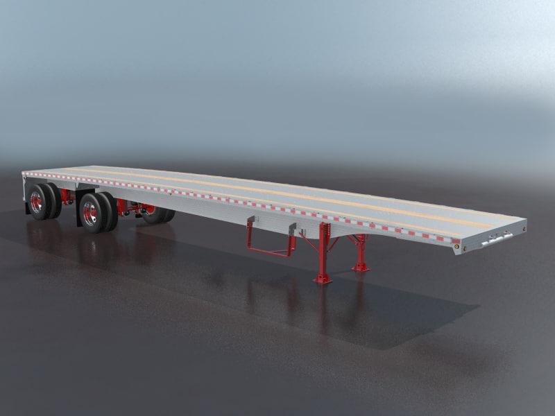 3d aluminum flatbed semi trailer