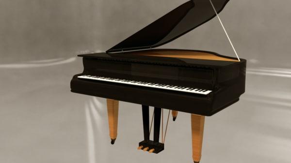 3d simple grand piano