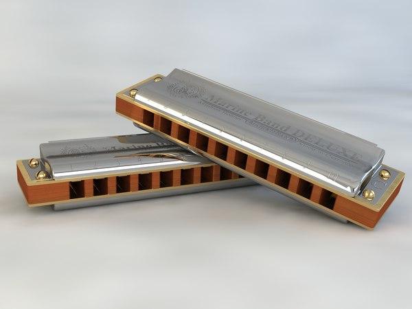 3d model blues harp honher