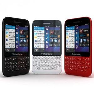 3d model of blackberry q5 black-white-red black
