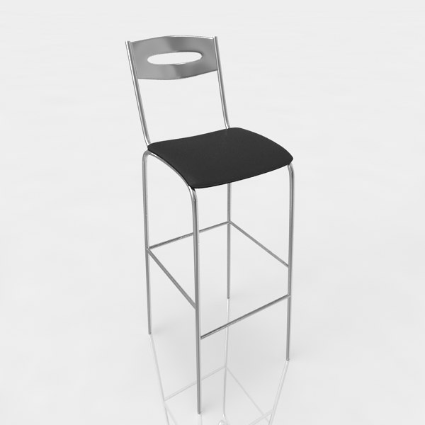 bar stool leather 3d model