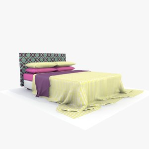 3d model bed yellow