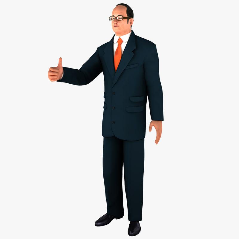businessman 2 pose man 3d model