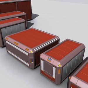 3d sci fi crates