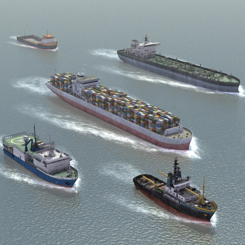 3d 5 civilian ships set
