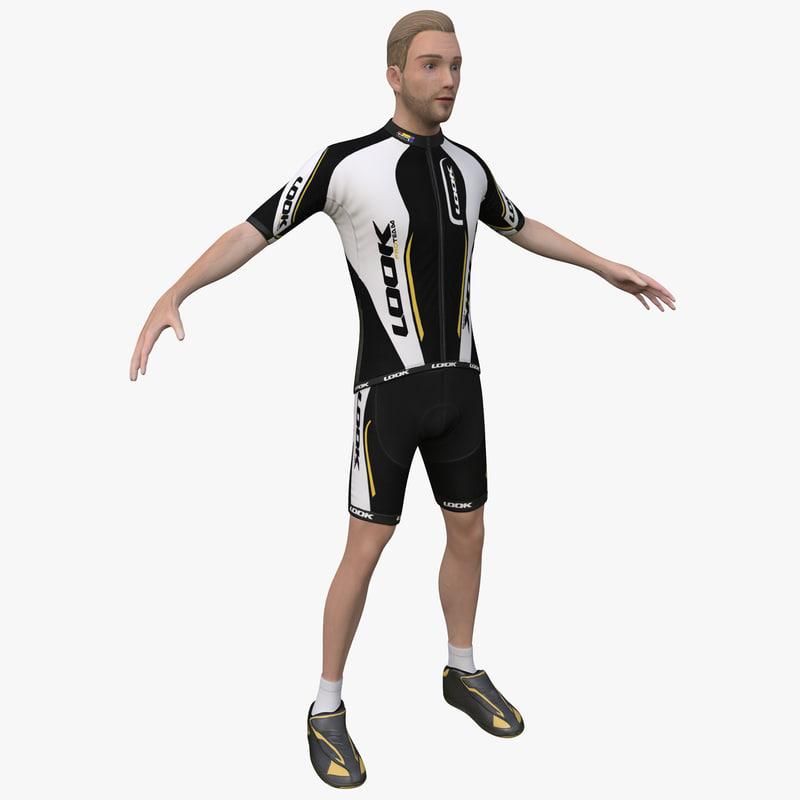 3d cyclist 2 man
