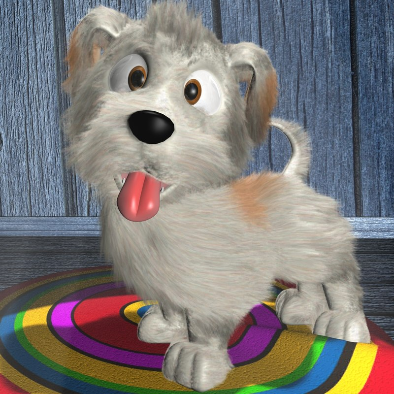3d cute dog rigged animation model