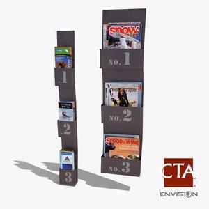 3d rustic wall magazine rack model