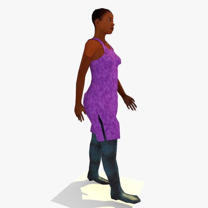 realistically walking african female body 3d model