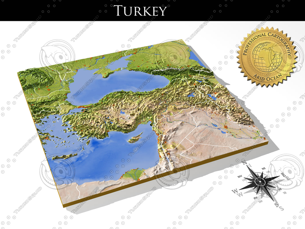 turkey resolution relief maps 3d model