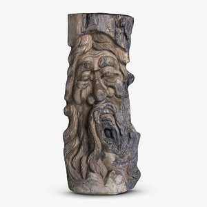 3dsmax wood carved face