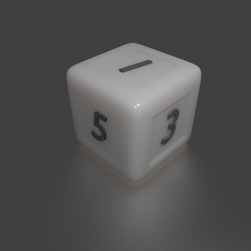3d dice numbers model