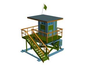 3d model life guard hut