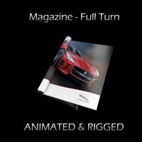 Magazine Full Turn Opening (Rigged & Animated)