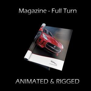 3d magazine turn opening rigged