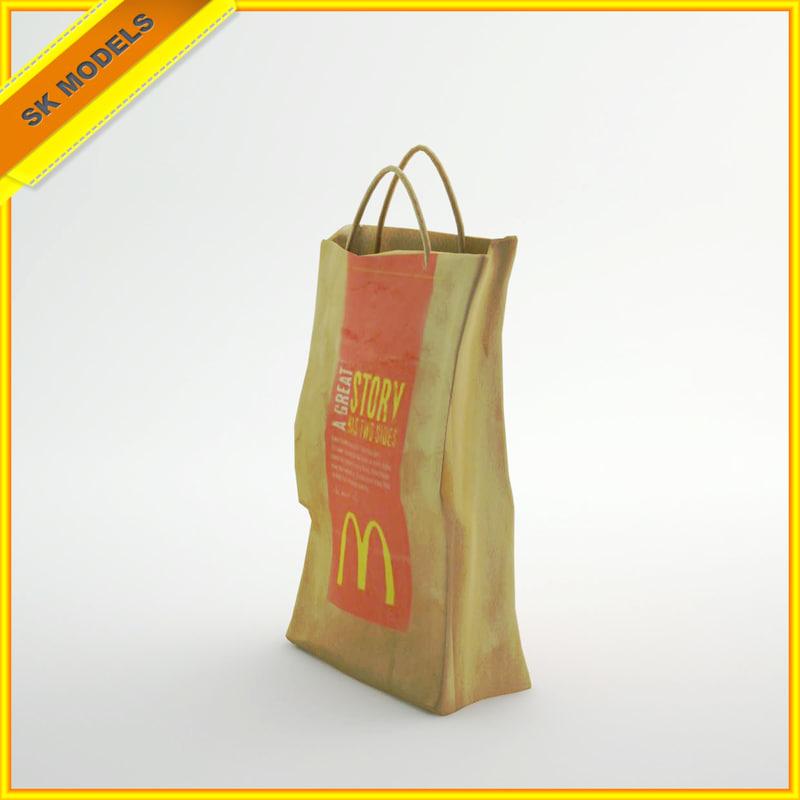 mcdonald s paper bag 3d 3ds