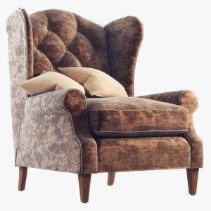 3d classic armchair vinci tosconova model