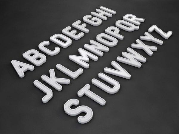 3d font letter alphabet