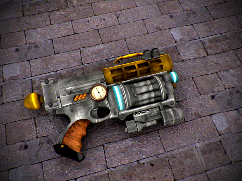3d nerf gun steam punked model
