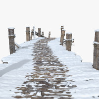 pier covered snow 3d max
