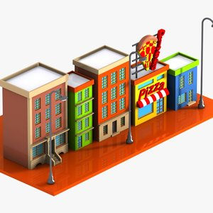 cartoon street toon 3d model