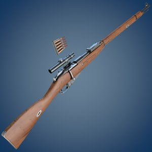 mosin rifle sniper scope 3d model