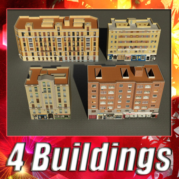 building 101-104 collections 3d model