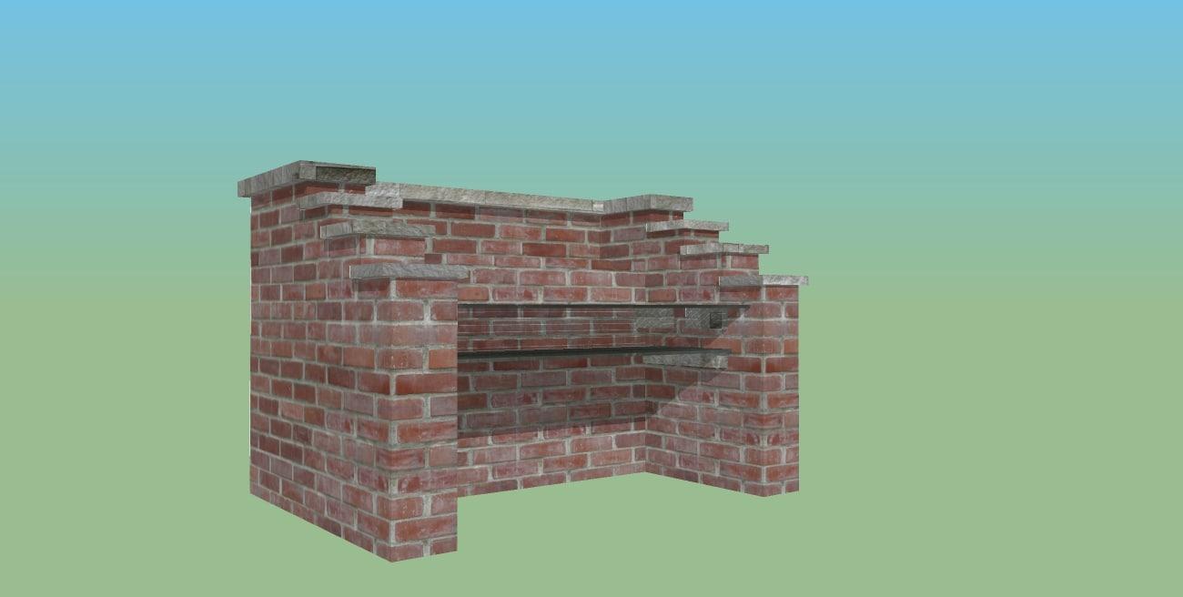 3d model bbq brick sand