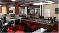 cafe restaurant scene 3d model