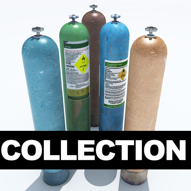 pressurised gas cylinders 3d 3ds