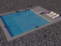3d pool ladders beach model