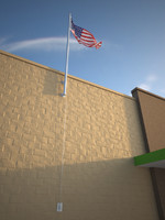 wall mounted flag 3d max