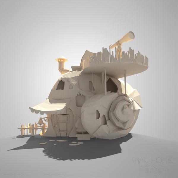3d model snail home toon