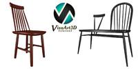 3d model chair bench