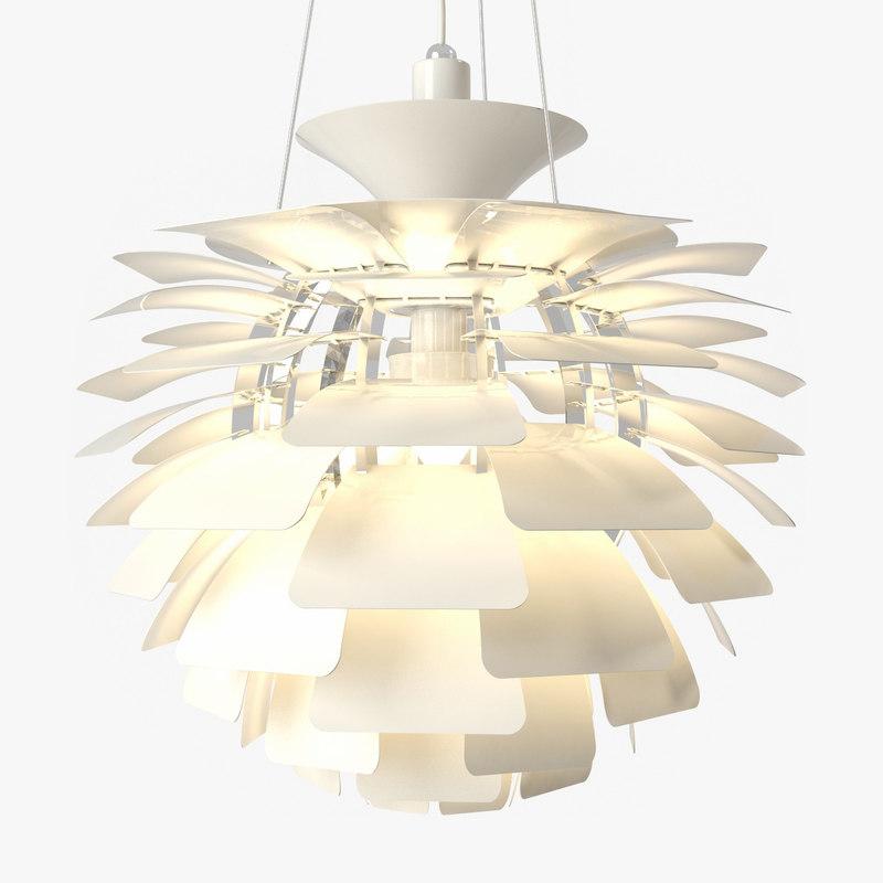 3d model artichoke pendant lamp white