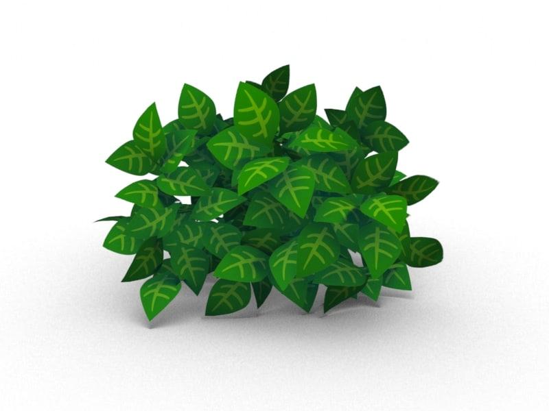 3d little bush cartoon renders model