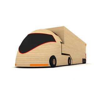 wooden toy truck 3d model