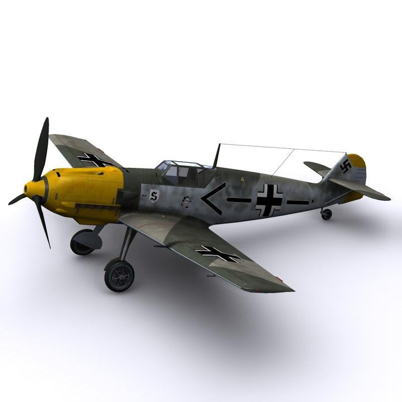 german adolf galland bf-109 3d model