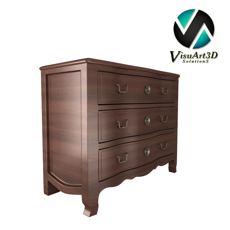 3d drawer chest materials model