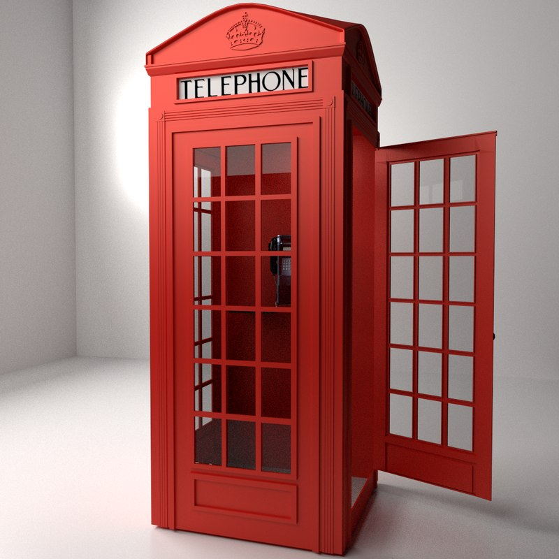 red phone booth 3d model