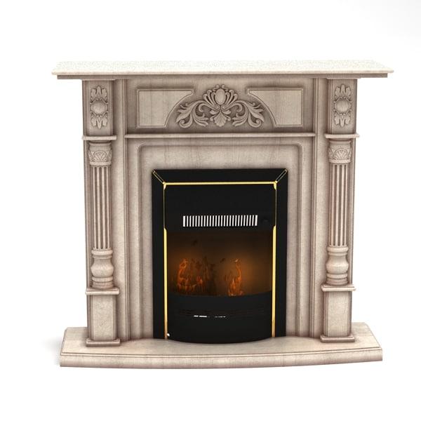 3d model fireplace modelled 2009
