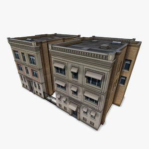 downtown buildings 3d model
