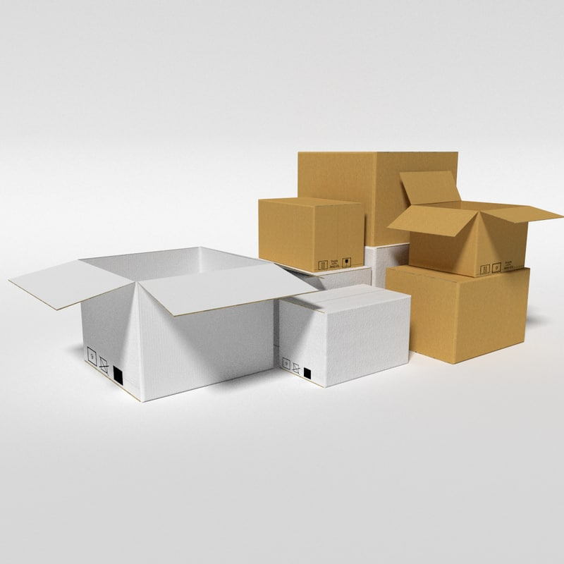 3d model cardboard warehouse