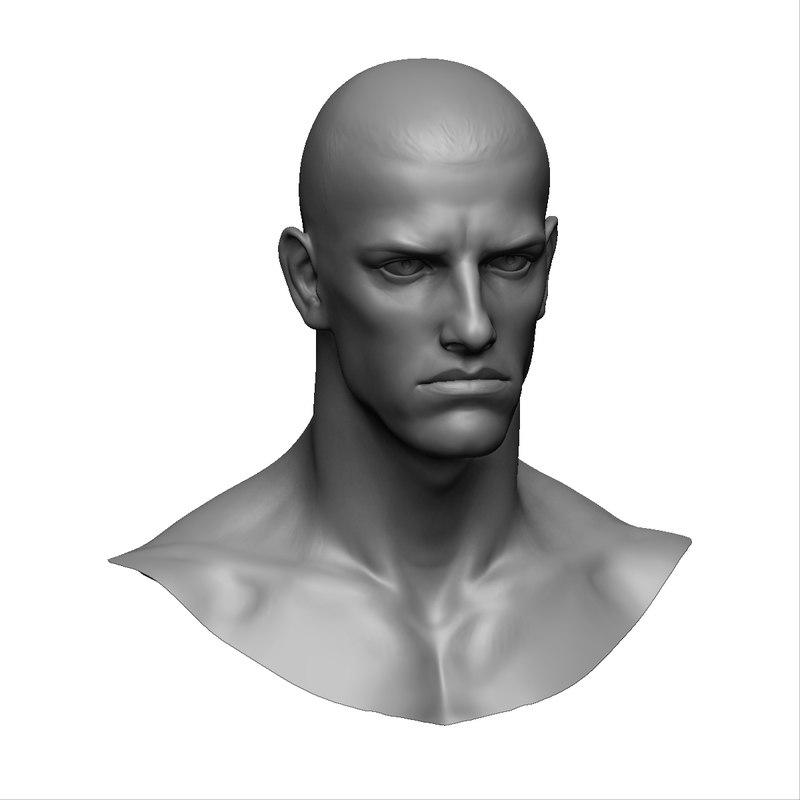 3d zbrush male head