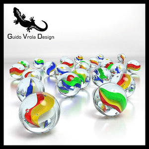 3d colored marbles model
