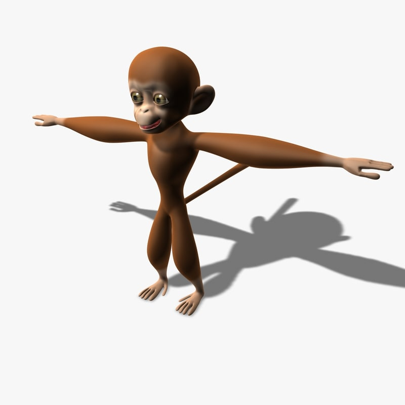 monkey cartoon character 3d obj